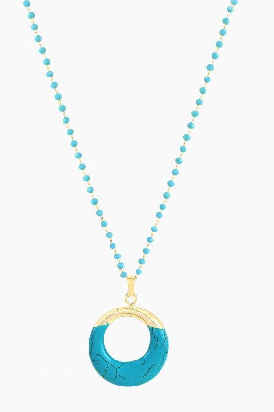 colar corrente de pedrinhas colar boho colar turquesa colar feminino turquesa
