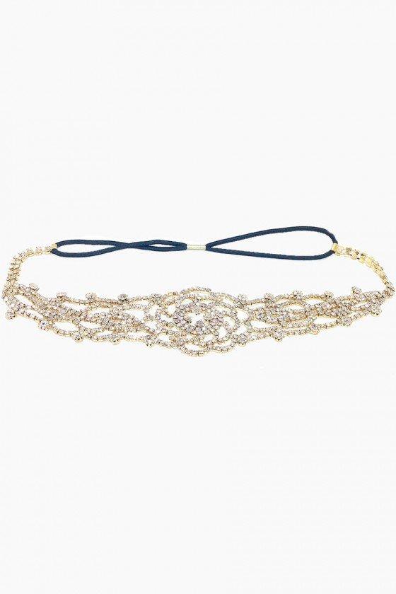 Headband Sweet Lucy Flor de Strass Amparo Dourada