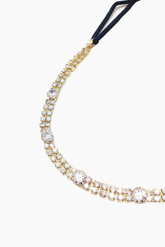 Headband Sweet Lucy Cristal Arline Strass Dourado