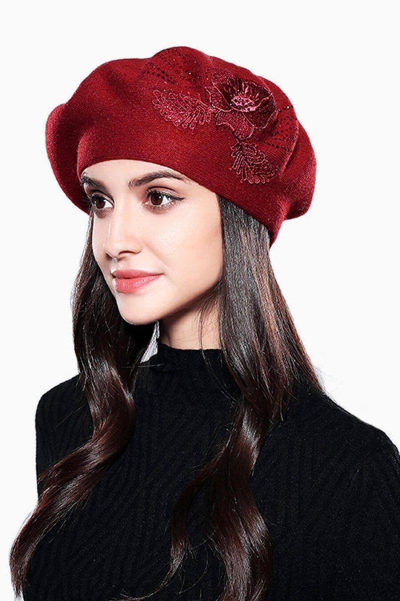 boina feminina vermelha bordada boinas femininas sweet lucy