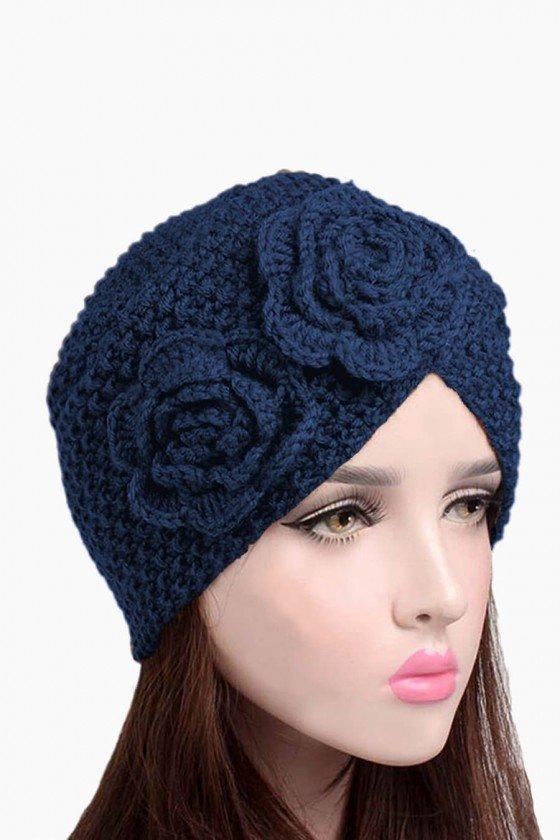 Touca Trançada Azul Marinho com Flores