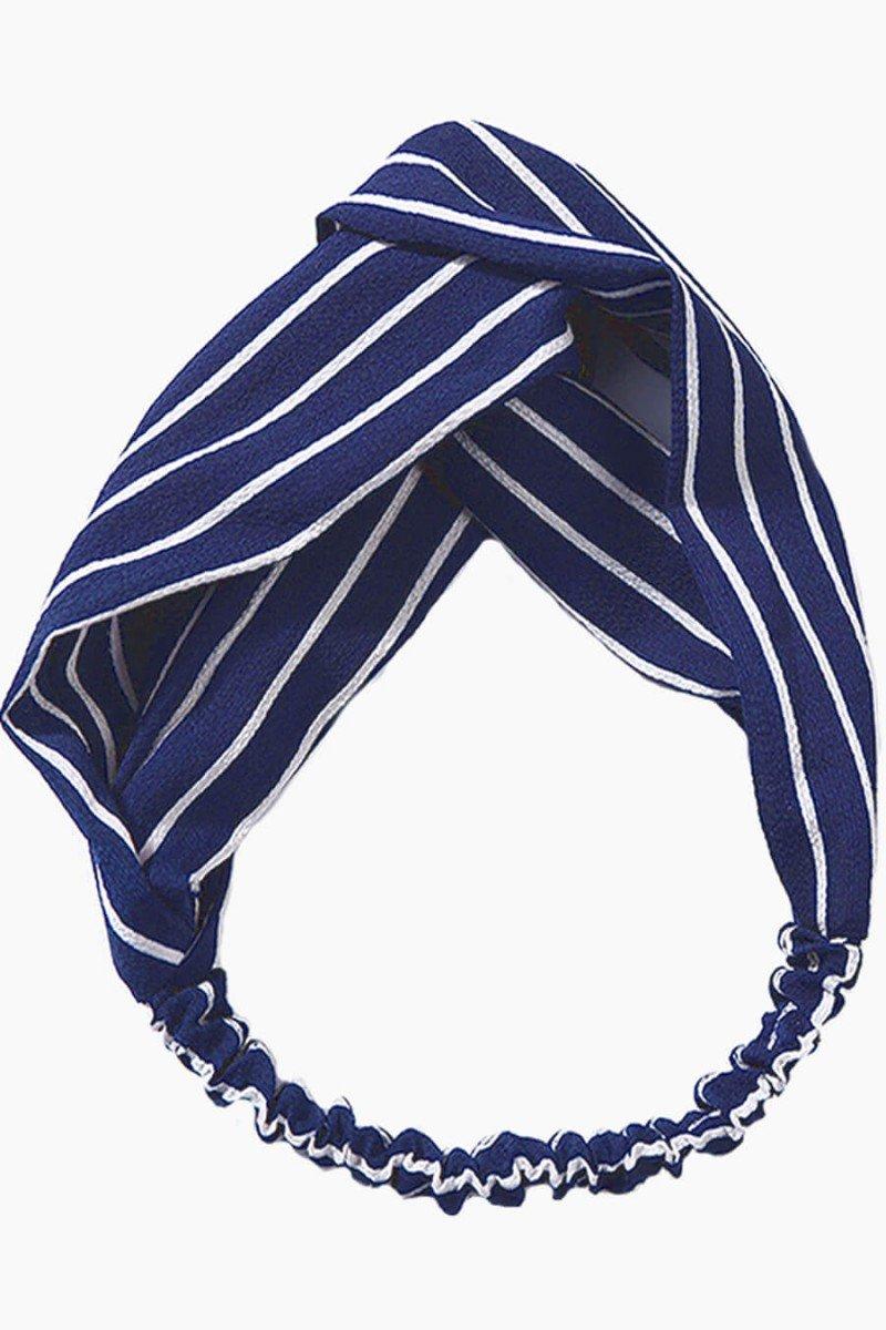 faixa de cabelo feminina listrada azul marinho faixas para cabelos sweetlucy