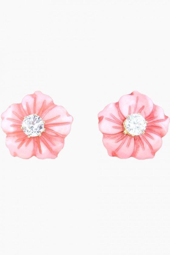 brinco flor de madreperola rosa banhado a ouro brinco semijoia sweetlucy