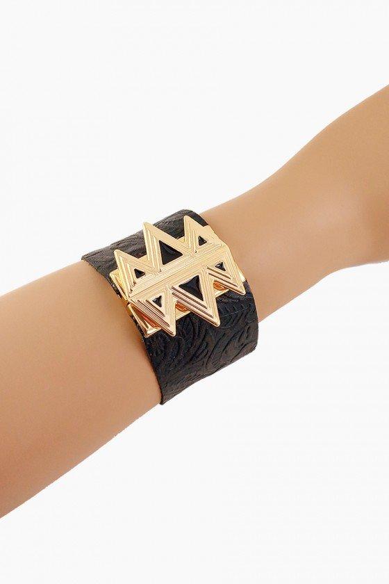 Bracelete Sweet Lucy Teresa em Couro com Fecho Dourado