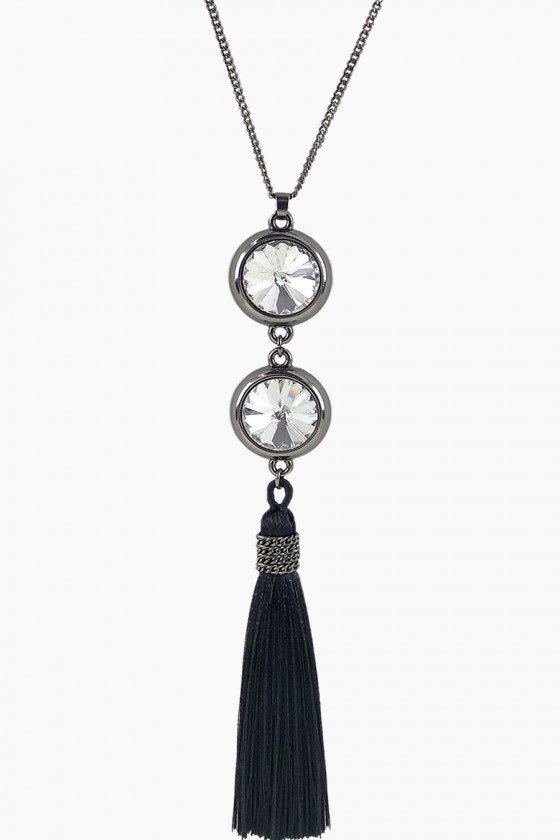 colar comprido com pingente de franja colar longo com cristais colares sweet lucy