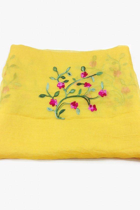 Echarpe Sweet Lucy Bordado Nora Floral Amarelo