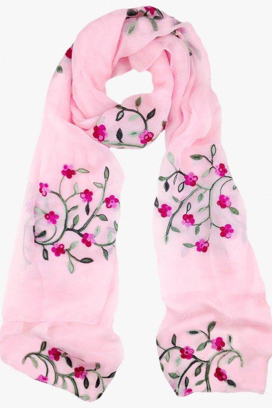 echarpe rosa bordado floral echarpe feminino sweetlucy