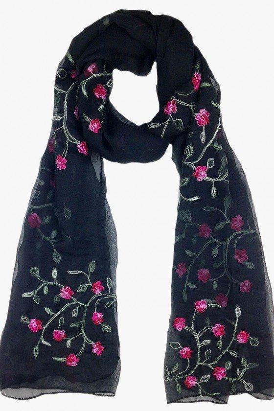 echarpe preto com bordado floral echarpes sweetlucy