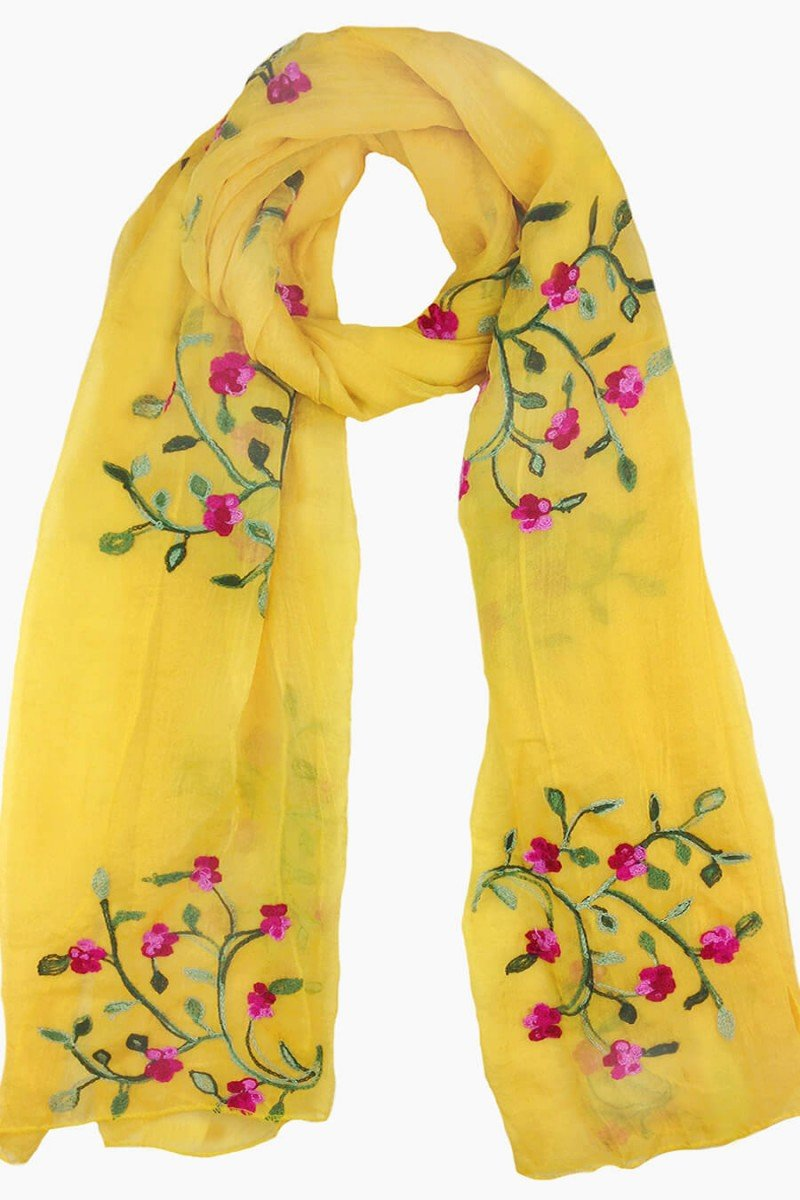 echarpe feminino amarelo bordado floral echarpes sweetlucy