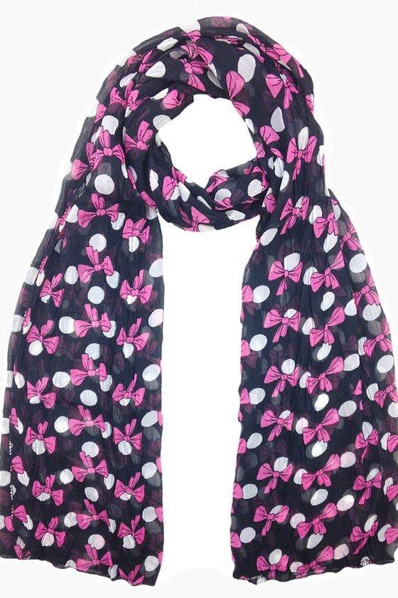 echarpe feminino preto estampa laços rosa echarpes femininos sweetlucy