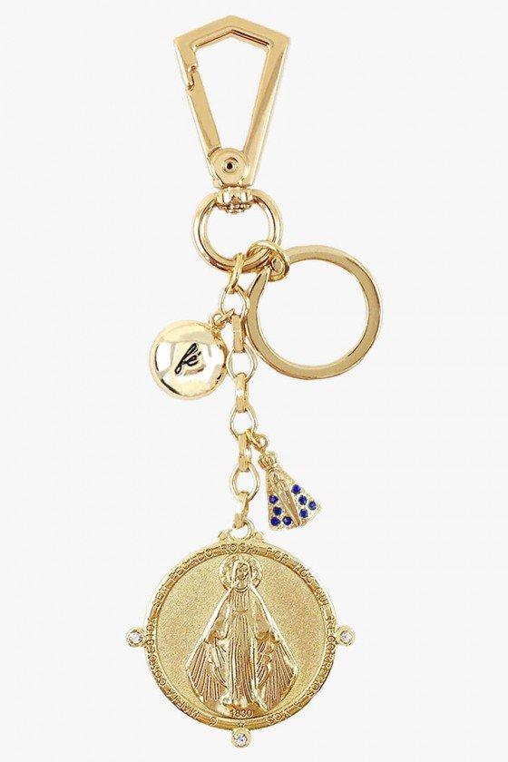 chaveiro feminino dourado luxo maria rogai por nós chaveiros de proteção chaveiros femininos sweetlucy