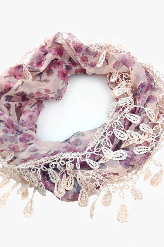 Lenço Sweet Lucy Gola Thabata Floral Rosê
