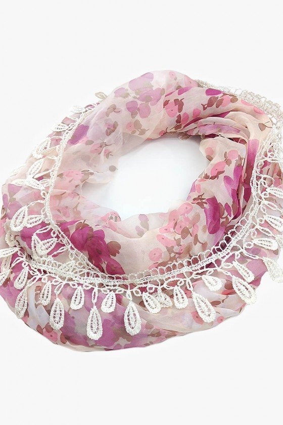 Lenço Sweet Lucy Gola Thabata Floral Rosa Claro