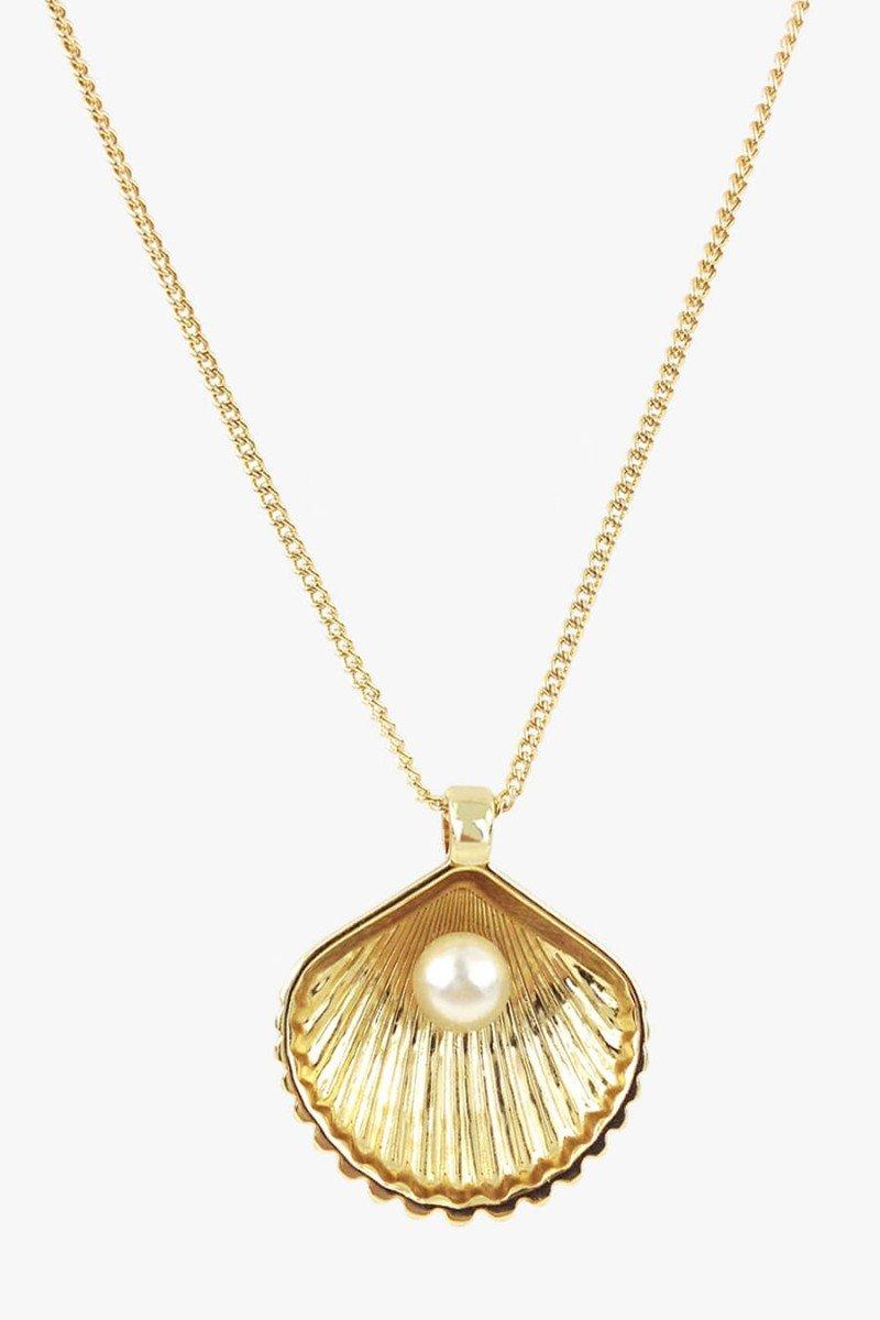 colar concha do mar dourada com perola colar longo sweetlucy