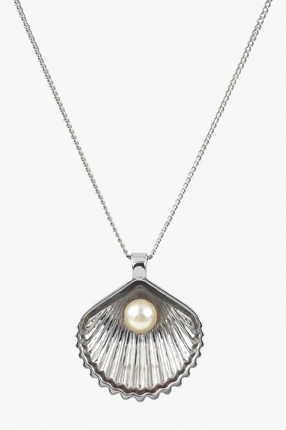 colar concha do mar prata com perola colar longo sweetlucy
