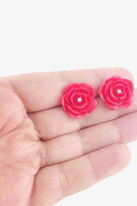 Brinco Sweet Lucy Pequeno Telma Flor Vermelha