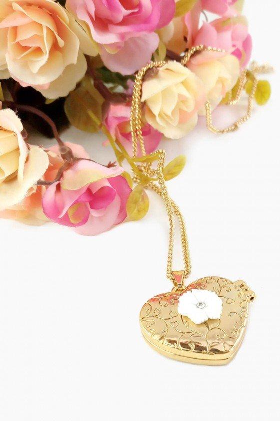 Colar Relicário Coração Dourado Selena