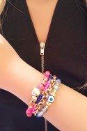 Maxi Colar Dourado Pedras Rosa - maxi colar dourado comprar Sweet Lucy