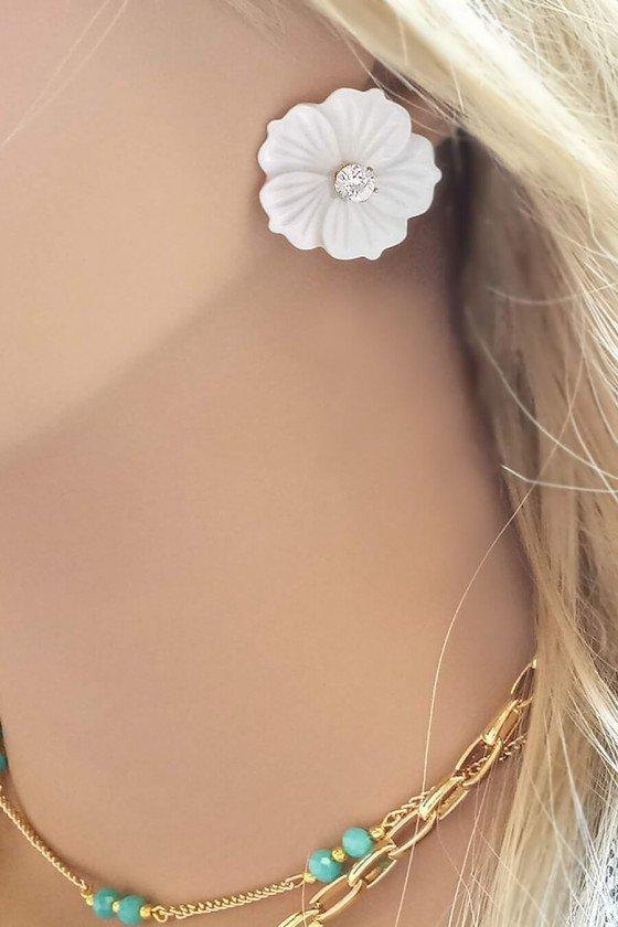 Brinco Sweet Lucy Flor Mollie Grande de Madrepérola Banhado a Ouro 18K