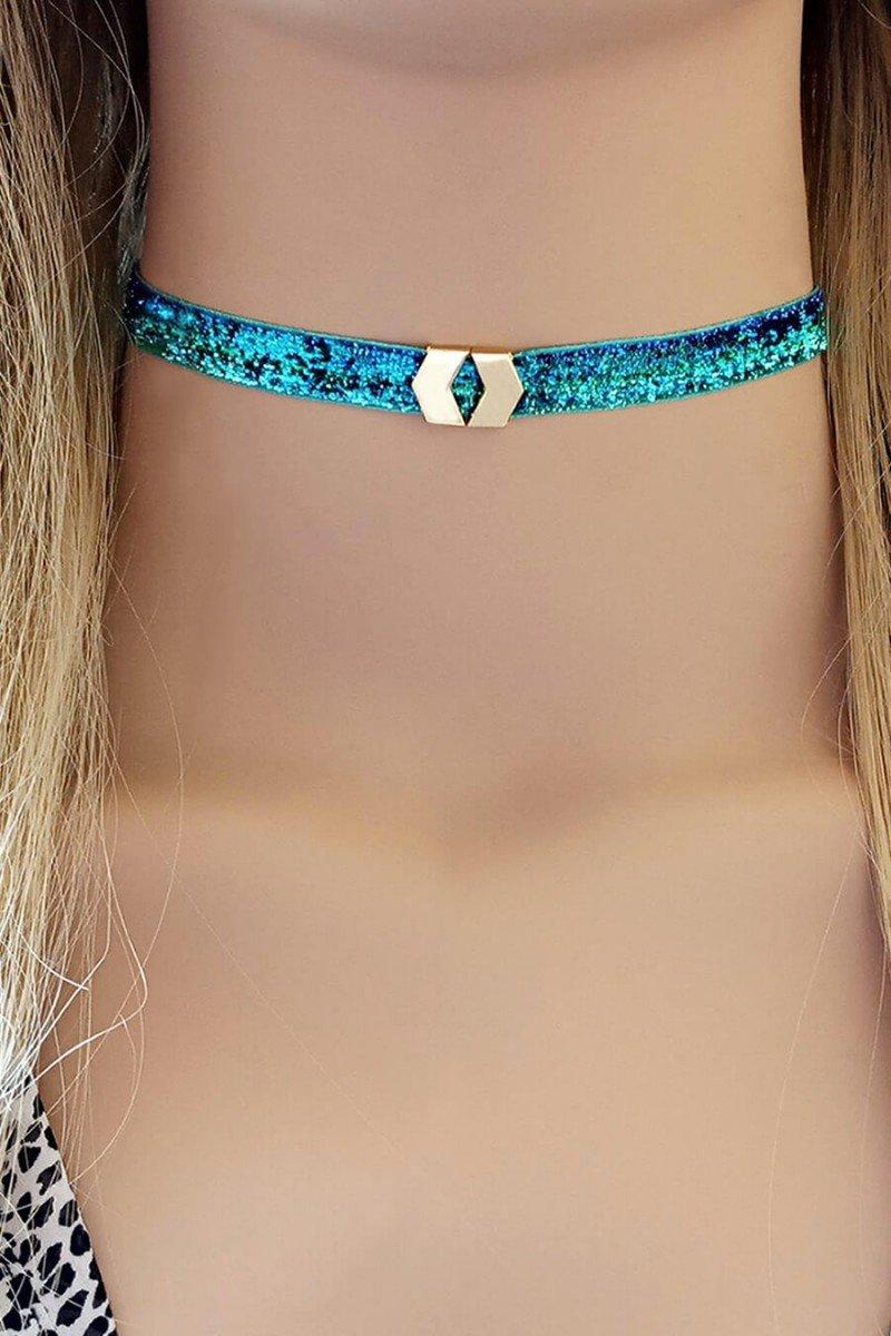 choker azul brilho com pingente chokers sweetlucy