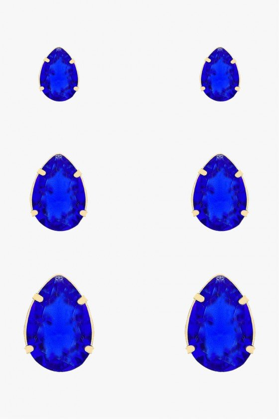 Kit de Brinco Sweet Lucy Gota Maya Azul Banhado a Ouro 18K