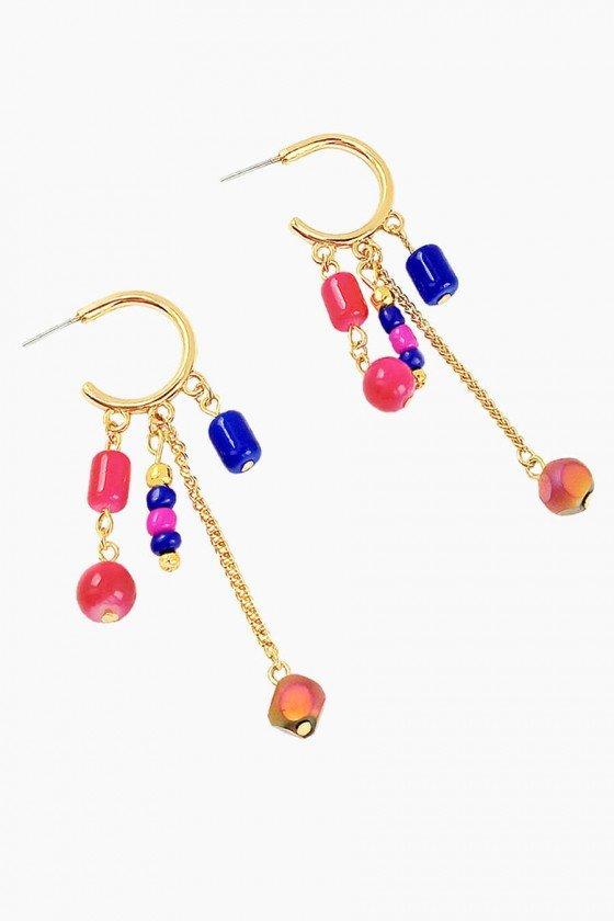 Brinco de Argola Pedras Rosa e Azul