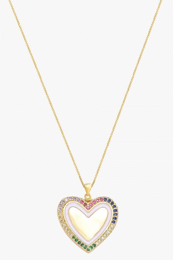 colar feminino semijoia colar coração banhado a ouro