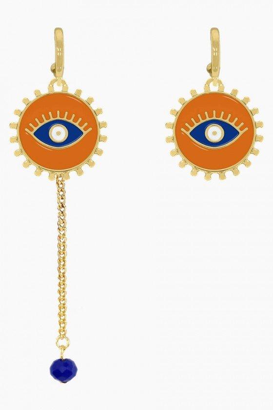 Maxi Colar Dourado com Losangos Multicolor