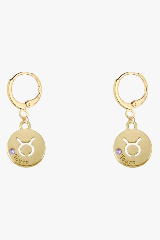 Brinco Argolinha Sweet Lucy Medalha Signos do Zodíaco Banhado a Ouro