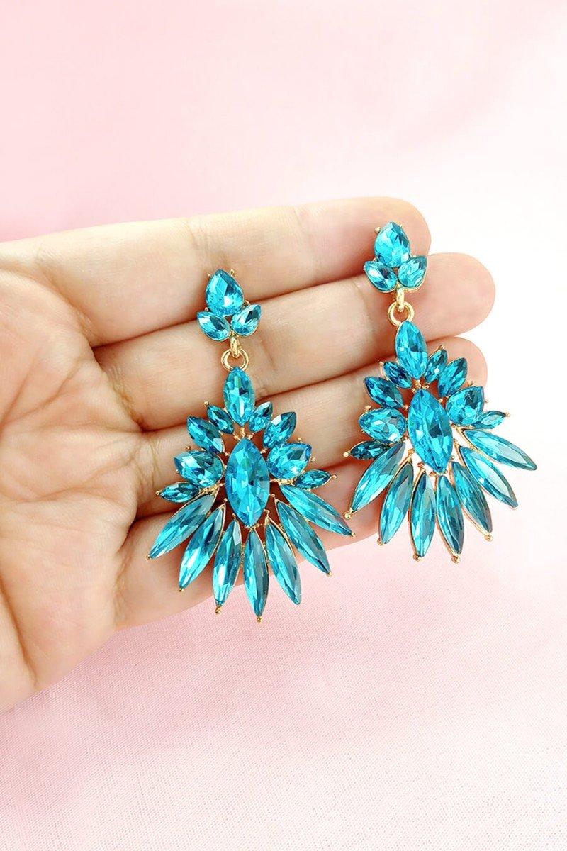 brinco feminino grande de pedras brinco azul brincos de festa sweet lucy