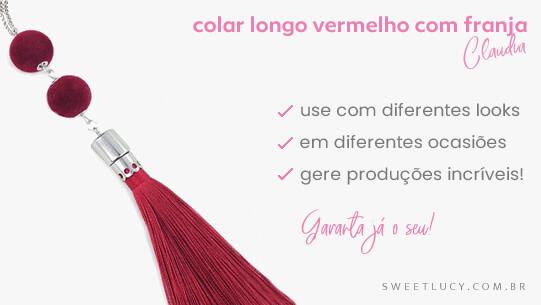 colar comprido vermelho com franja colares sweet lucy